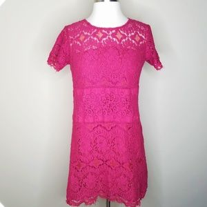 Free People lace short sleeve dress red